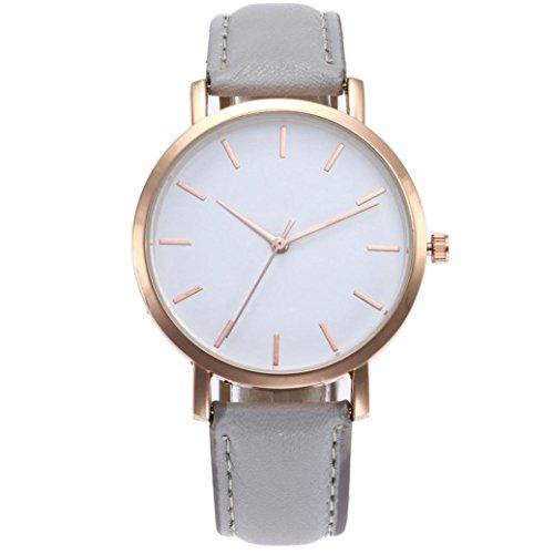 PLOT Damen Quarzuhr Mit Lederarmband   Modisch Einfach   Armbanduhren Für Frauen   Geschenke Für Frauen   Einstellbar Uhrenband   Quarzwerk   18mm Bandbreite   40mm Gehäusedurchmesser (Grau)