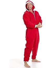 Combinaison pyjama en polaire - détail poches - homme - rouge/blanc - taille S à 5 XL