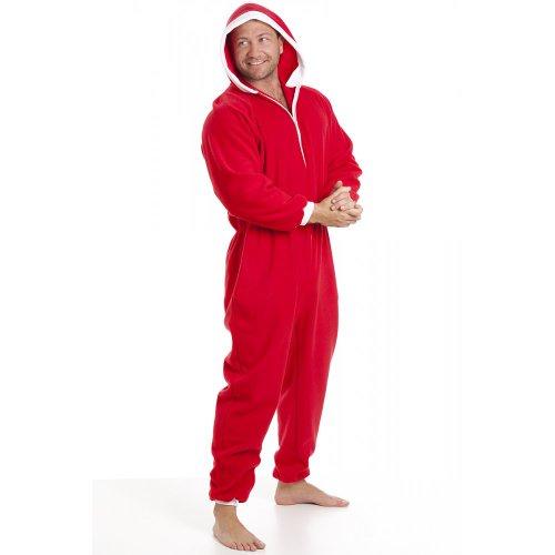Herren Schlafanzug-Overall aus Fleece - Mit Taschen - Rot/weiß - Größen S-5XL Rot