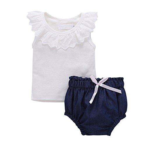 Brightup Kleinkind Baby Mädchen Outfits Bluse Tops + Denim Short PP Hosen Kleidung Set, Spitze Weste + Slip Shorts, ärmelloses T-Shirt + Höschen (Ärmelloses T-shirt Shorts)