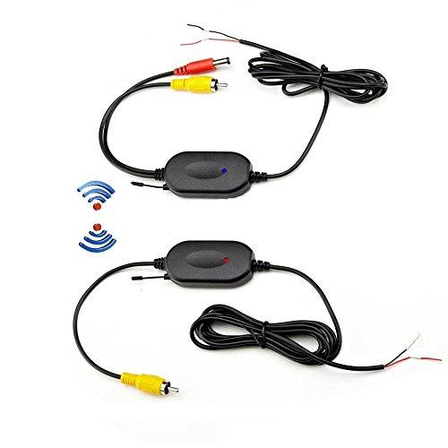 Podofo Transmisor de video inalámbrico de 2,4 GHz y receptor para la cámara de reserva del coche de la opinión posterior del revés del monitor Sistema de Estacionamiento