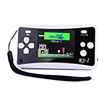"""QINGSHE Handheld Game Console for Children,Retro Game Player with 2.5"""" 8-Bit LCD Portable Video Games,The 80's Arcade Video Gaming System,Built-in 152 Classic Old School Games Entertainment-Black"""