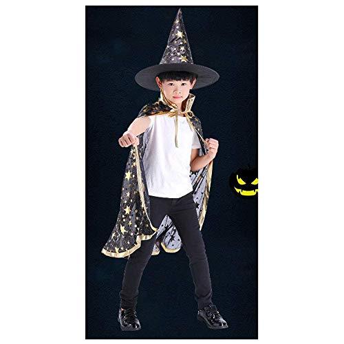 YaPin Kinder Halloween Mantel Männer und Frauen Leistung Kostüme Spielen Hexe Zauberer Hexe fünf Sterne Mantel Kappe schwarz (Size : L) (Halloween Monster Liste)