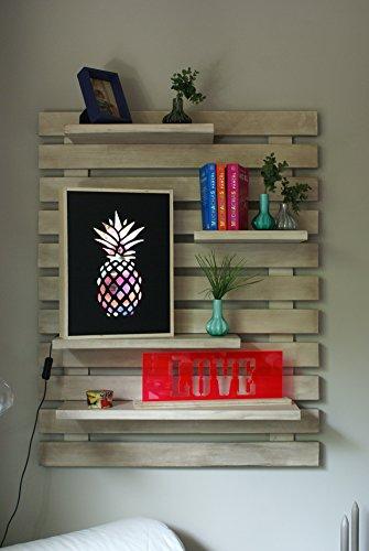 Liza line libreria da parete (bianco invecchiato) stile vintage, libreria a giorno con 4 ripiani regolabili in vero pino massello, ideale per corridoio, cucina, salotto, bagno, camera. 101x80x21 cm