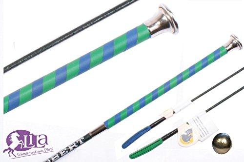 Dressurgerte Döbert grün/blau Ledergriff zweifarbig mit Namensgravur