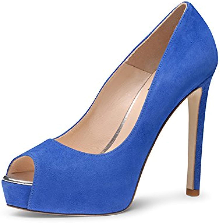 Evita Shoes BEPPINA Escarpins Peep Toe Daim Bleu Royal Royal Royal 35B00U33GDIMParent | Promotions  dca8f2