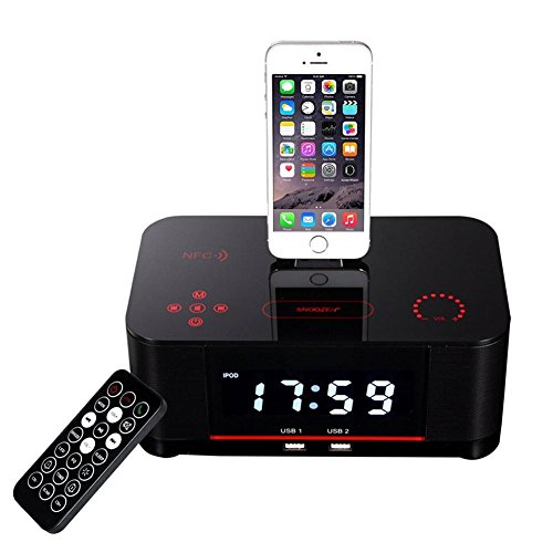 OOLIFENG Despertador doble Radio FM con Lightning Dock Carga USB Bluetooth Altavoz para iPhone 8, 7...