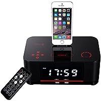 QQA Despertador doble Radio FM con Lightning Dock Carga USB Bluetooth Altavoz para iPhone 8, 7, 7 plus, 6, 6s, 6 plus, 5, 5s, black