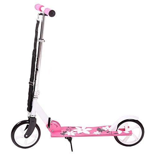 FunTomia Kick Scooter Roller Cityroller / klappbar (Pink/Weiß Blume)