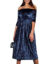 Mujer Vestido de Fiesta,VENMO De hombro vestido de terciopelo señoras fiesta de noche suelto