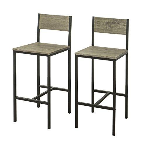 SoBuy 2 x Sedie Metallo da Bar Sgabelli Cucina mobili da Balcone con poggiapied,FST53X2