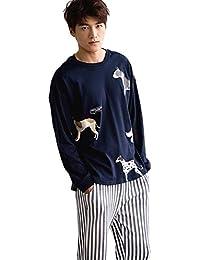 b4f453d5ad Oneworld Damen Herren Liebespaar 100% Baumwolle Pyjamas Set Zweiteiliger  Schlafanzug Hausanzug Nachtkleid Nachthemd Langarm Hund