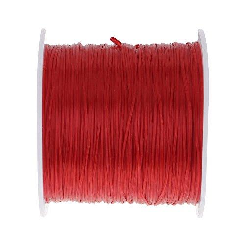 HuaYang DIY Perlen Faden Schnur Seil Halskette Kette Armbänder Kristall Gurt Elastisch Rot (Braut-kristall Perle Halskette)