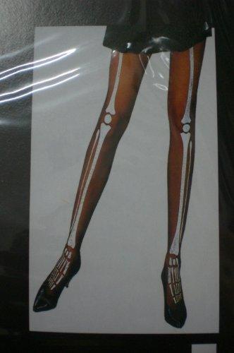 Halloween Schwarze Strumpfhose mit weißem Skelett Knochen Design-
