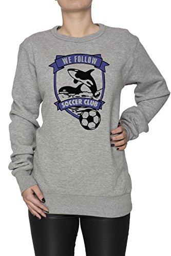 We Follow Soccer Club Donna Grigio Felpa Felpe Maglione Pullover Grey Women's Sweatshirt Pullover Jumper