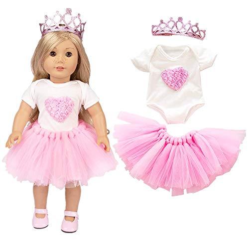 Puppen Für 18 Kostüm - LILITRADE 18 Zoll Puppen Kleidung süße Fee Kostüm Party Outfits Kostüm enthalten Blase Rock T-Shirt Prinzessin Krone (Pink)
