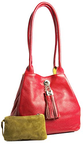 BHBS Femmes Cuir Véritable Italien Réversible Petites et Moyennes Empoté épaule Sac à Pampille 26x23x12.5 cm (LxHxP) Rouge