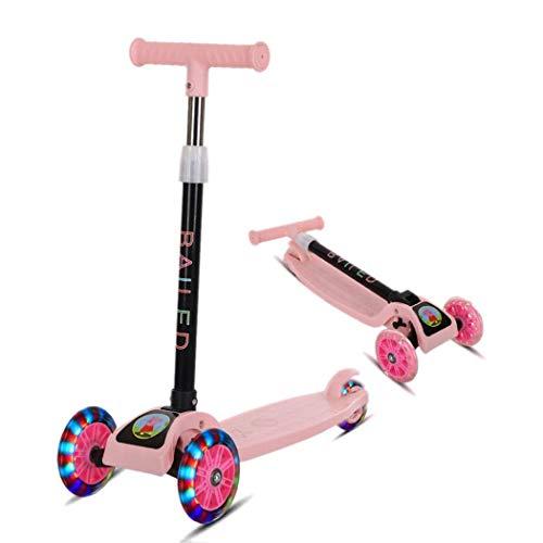 amilses Faltbare Kinder-Tretroller, 4 höhenverstellbare 3-Rad-Roller, Blitzlicht-Schieberoller für Kinder von 3-8 Jahren Mädchen Jungen Kleinkinder