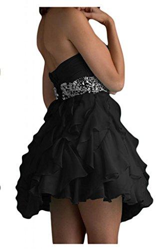 Gorgeous Bride Beliebt Herz-Ausschnitt Empire Chiffon Mini Ballkleid Partykleid Brautjungfernkleid Schwarz