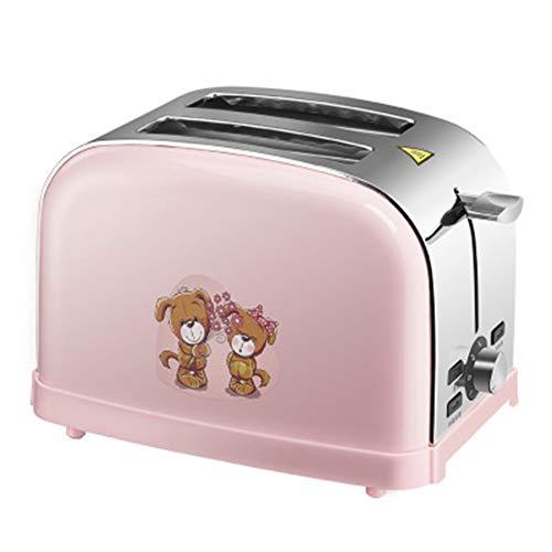FASBHI Toaster, Haus 2 Scheiben Toaster automatische Multifunktions-Frühstück Bodenfahrer Antihaft-Keramiktopf, rosa