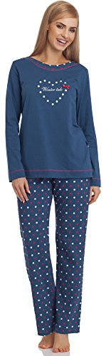 Lange Muster Warme Baumwolle (Cornette Damen Schlafanzug 679 2016 (Jeans, XXL))