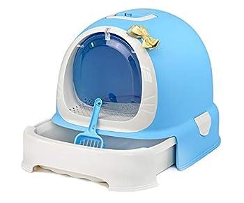 Flowing water Boîte à litière pour Chat avec tiroir, Toilette pour Chat sans Odeur Facile à Nettoyer avec poignée, Drain de Sable, Toilette pour Animaux de Compagnie,Bleu