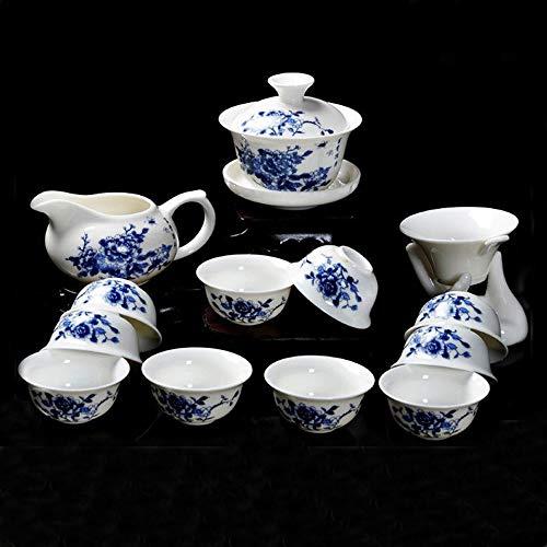 13 Stück Chinesische Kung Fu Keramik Tee Set, Blaue Pfingstrose Muster Vintage Blau und Weiß Porzellan Teeservice, Für Geschenk und Zuhause