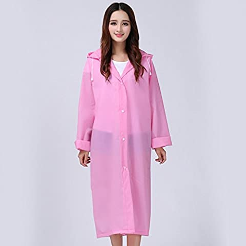 Thicker EVA Translucent matte sense of adult poncho male and female models with a long raincoat ( Color : Pink )