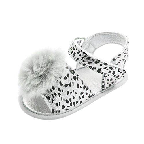 SOMESUN Baby Mädchen Leopard Sandale Säugling Prinzessin Niedlich Plüsch Ball Krippe Schuhe Weich Baumwolle Sohle, Einzig, alleinig Gemütlich Rutschfest Single Schuhe (6-12 Monate, Silber) (Jordan-schuhe, Kleinkind, Größe 7)