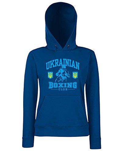 T-Shirtshock - Sweats a capuche Femme TBOXE0061 ukrainian boxing fitted Bleu Navy
