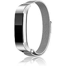 iHee Milanese Loop - Pulsera de repuesto para reloj inteligente Fitbit Alta, magnética, acero inoxidable, color plateado
