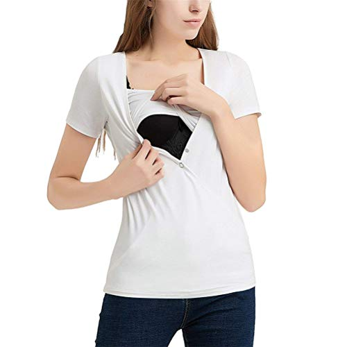 Weiße Schwangerschafts Tee (Mymyguoe Umstandsmode T-Shirt Umstandstops Damen Streifen Kurzarm Umstandsshirt Schwangerschaftshirt Sommer Bluse Oberteile Mutterschafts T-Shirt Umstandskleidung Damen Tee [Weiß,L])