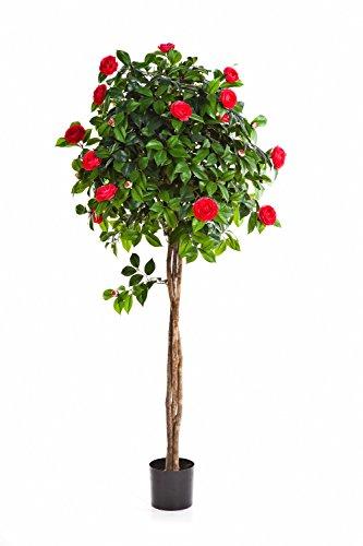 artplants Set 2 x Deko Kamelien Baum mit 890 Blättern, 105 Blüten, rosa, 130 cm – Kunstblume Kamelie/Kunstbaum