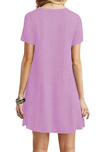 OMZIN Frauen Kurzarm Lose beiläufige T-Shirt Tops Kleid Plus Größe XS-4XL US 4-18 Helles Lila