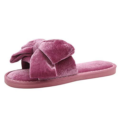KonJin Damen Hausschuhe Süße Weiche Indoor/Outdoor Pantoffeln mit rutschfeste Soft Bottom Bow One Band rutschfeste Flache Hausschuhe -