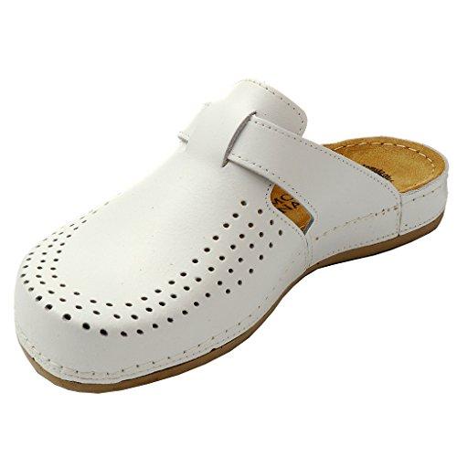 Dr Punto Rosso BRIL Y77 Zoccoli Sabot Pantofole Scarpe Pelle Donna Bianco