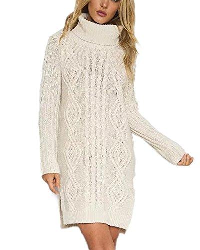 Damen Langarm Pullover Kleider Zopfmuster Strickkleid Rollkragen Lang Sweater Kleid Strickkleider Weiß Einheitsgröße