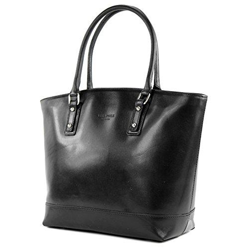 Sac italien en cuir sac à bandoulière sac à main cuir lissé femme sac cabas T27, Präzise Farbe (nur Farbe):Schwarz