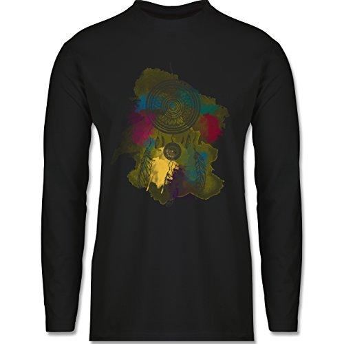 Boheme Look - Traumfänger Wasserfarbe Dreamcatcher Watercolor - Longsleeve / langärmeliges T-Shirt für Herren Schwarz