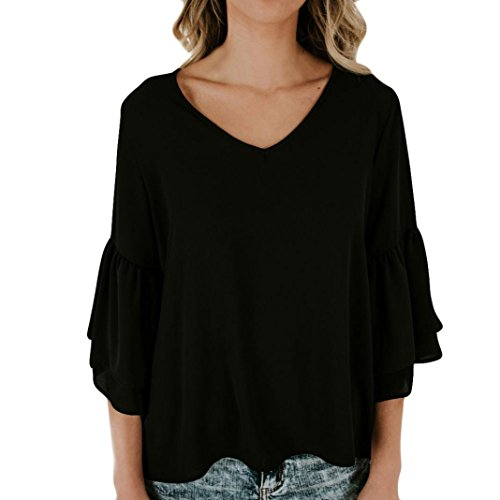 Women Chiffon V Neck Bell Sleeve Flare Frill 3/4 Sleeve T-Shirt Fashion Sexy Blouse Tops Shirt