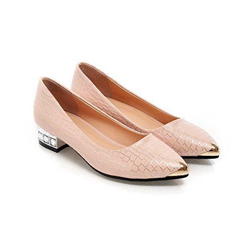 AllhqFashion Femme à Talon Bas Matière Souple Couleurs Mélangées Tire Pointu Chaussures Légeres Rose