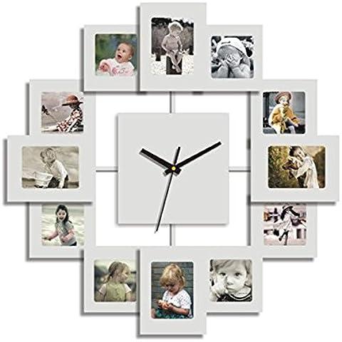 GYN Versión coreana arte de la moda Pastoral marco de la foto del reloj reloj de pared de cuarzo mudo del reloj de la sala de estar Dormitorio Decoración , Black