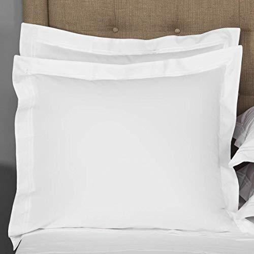 saharbeddings weiße europäische Kissenbezüge, 2 Stück, Heimdekoration, Hotel, Stickkissenbezüge, Fadenzahl 500, 100% ägyptische Baumwolle, 66 x 66 cm, Weiß -