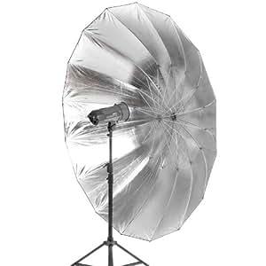 Quenox Parabol-Reflektor (Studioschirm, Para-Reflexschirm, Parabolschirm) für Studioblitz 215 cm silber/schwarz