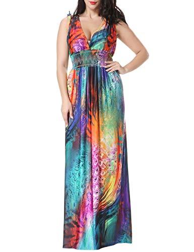 EUTUOPU Women's V Neck Boho Backless Sleeveless Long Holiday Peacock Print Beach Bohemian Dress Plus Size(Colorful) -