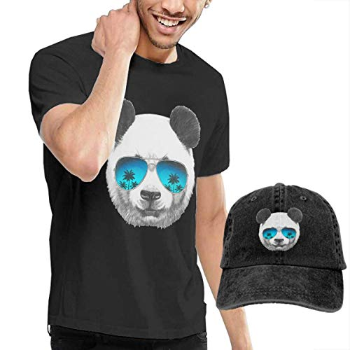 cvbnch Herren Kurzarm T-Shirt und Hut Bundle Panda-with-Sunglasses Men's Classic Short Sleeve Crew Neck T-Shirt + HAT Combo