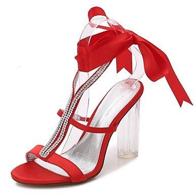 Sanmulyh Chaussures Femme Satin Printemps Été Pompe Base T-sangle Sangle De La Cheville Sandales Transparent Chunky Talon Chaussures Translucide Cristal Perle Talon Rouge