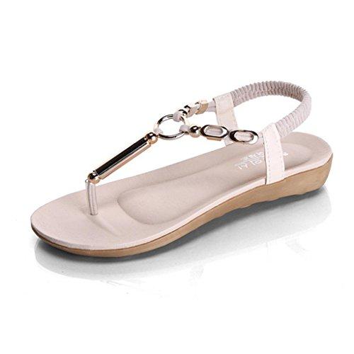 DM&Y 2017 Bohemian perline sandali piatti Sandali infradito sandali beige