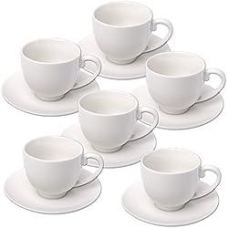 Alpina 871125285358–Set de tazas de espresso con platos, cerámica blanca (12unidades) 31 x 17,5 x 7 cm