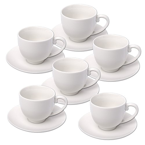 Alpina 871125285358-Set de Tazas de Espresso con Platos, cerámica Blanca (12Unidades) 31 x 17,5 x 7 cm